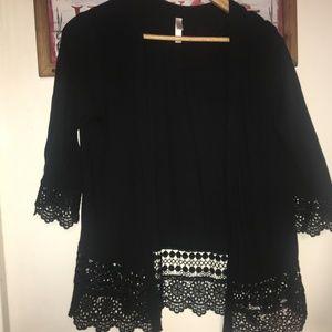 Black Kimono with Crochet Details